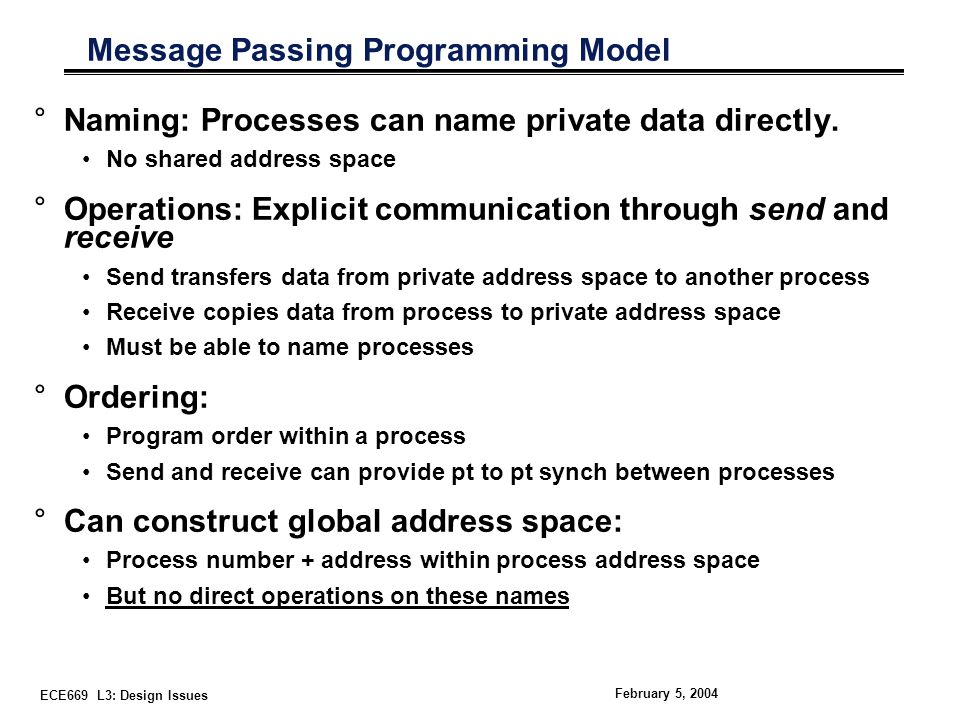 ECE669 L3: Design Issues February 5, 2004 Message Passing Programming Model °Naming: Processes can name private data directly.