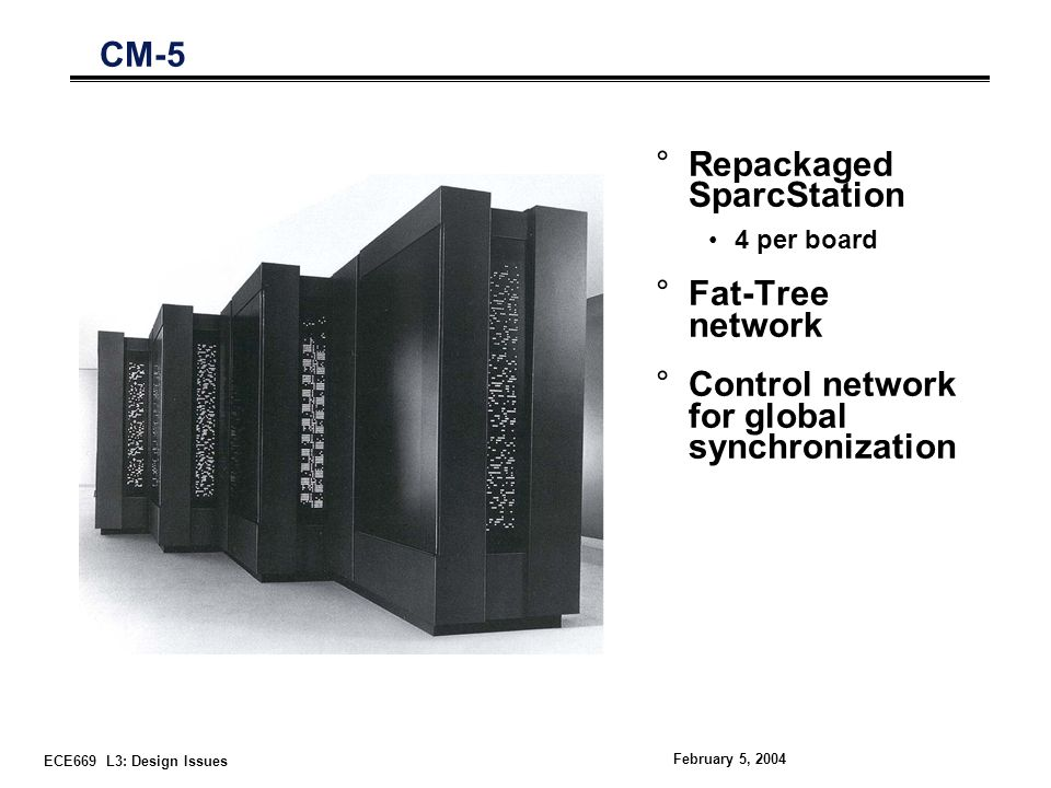 ECE669 L3: Design Issues February 5, 2004 CM-5 °Repackaged SparcStation 4 per board °Fat-Tree network °Control network for global synchronization