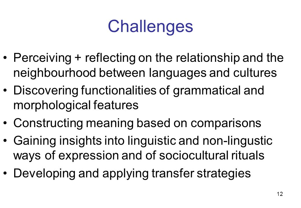 12 Challenges Perceiving + reflecting on the relationship and the neighbourhood between languages and cultures Discovering functionalities of grammati