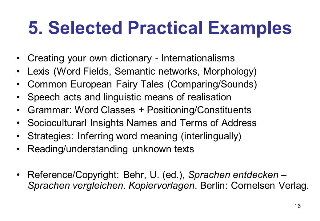 16 5. Selected Practical Examples Creating your own dictionary - Internationalisms Lexis (Word Fields, Semantic networks, Morphology) Common European