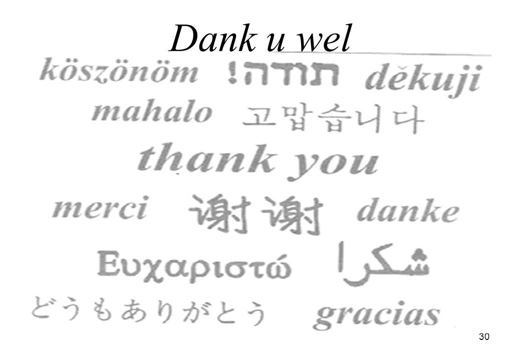 30 Dank u wel