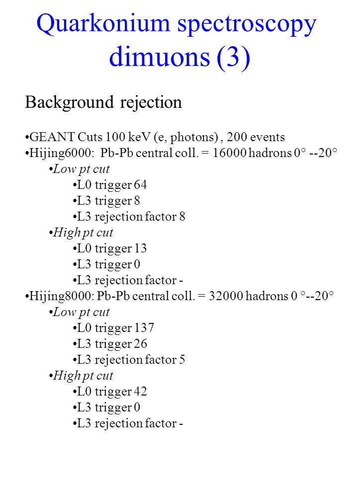 Quarkonium spectroscopy dimuons (3) Background rejection GEANT Cuts 100 keV (e, photons), 200 events Hijing6000: Pb-Pb central coll.