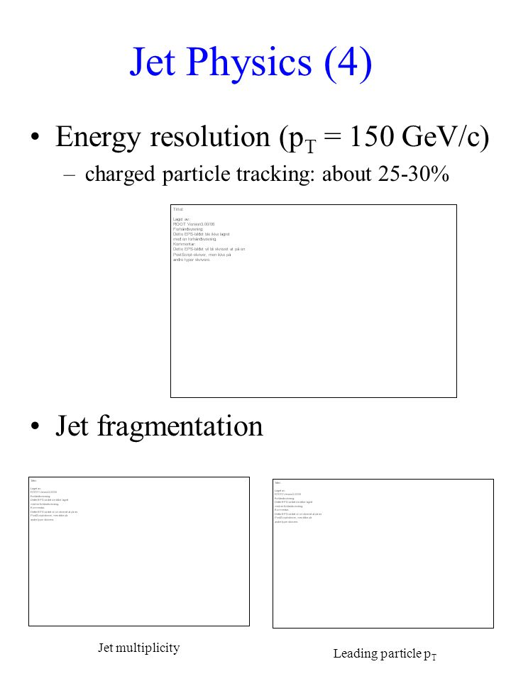 Jet Physics (4) Energy resolution (p T = 150 GeV/c) –charged particle tracking: about 25-30% Jet fragmentation Jet multiplicity Leading particle p T