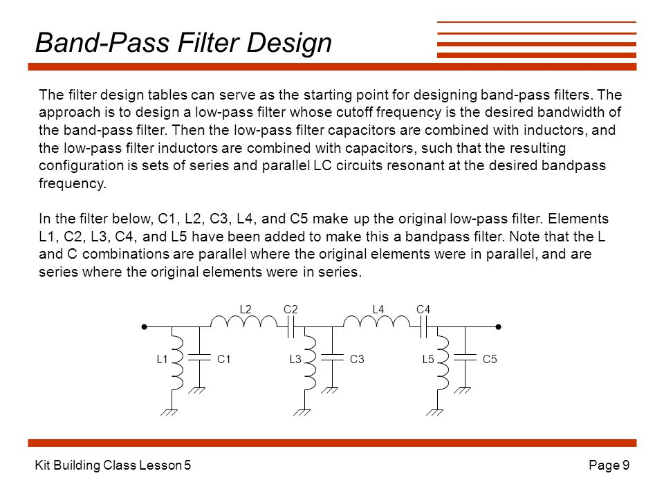 Kit Building Class Lesson 5Page 9 Band-Pass Filter Design L2 C3C1C5 L4 L3L1 C2 L5 C4 The filter design tables can serve as the starting point for designing band-pass filters.