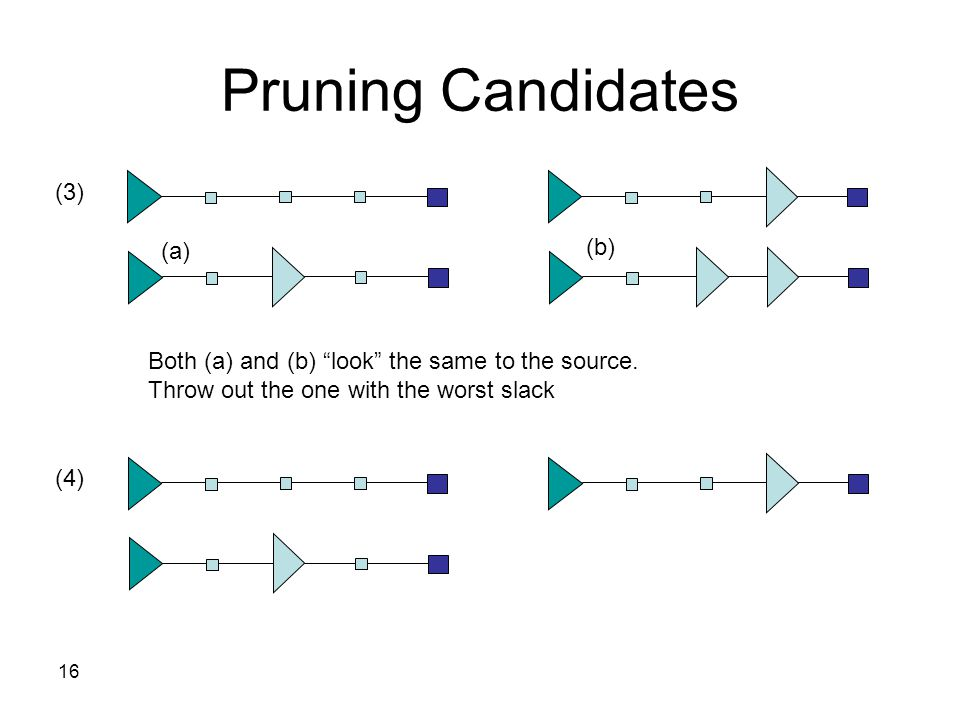 16 Pruning Candidates (3) (a) (b) Both (a) and (b) look the same to the source.