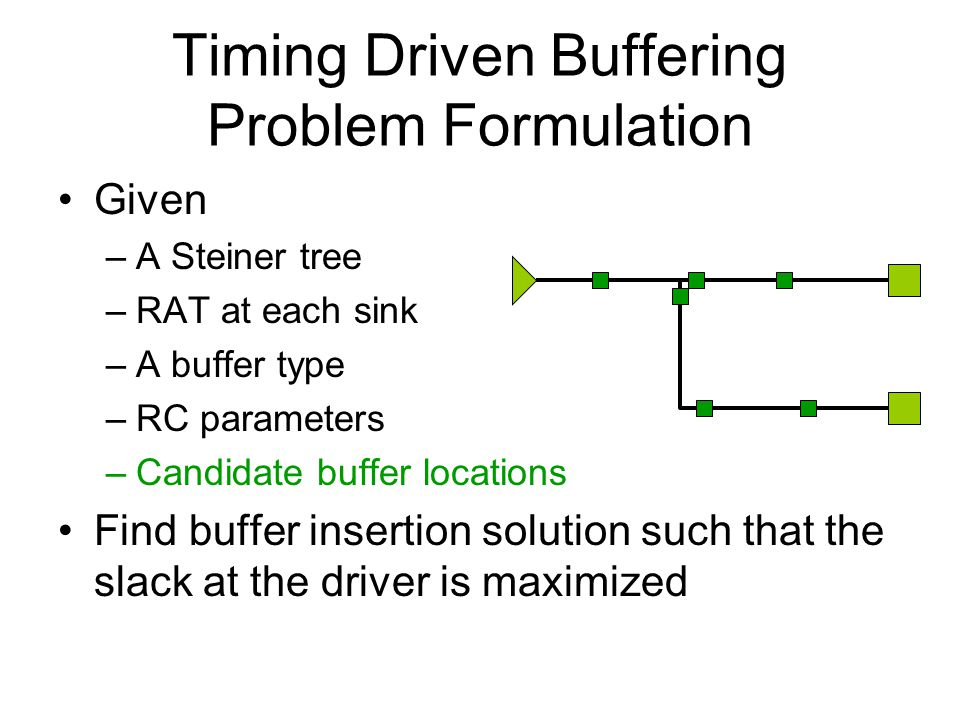 Timing Driven Buffering Problem Formulation Given –A Steiner tree –RAT at each sink –A buffer type –RC parameters –Candidate buffer locations Find buffer insertion solution such that the slack at the driver is maximized