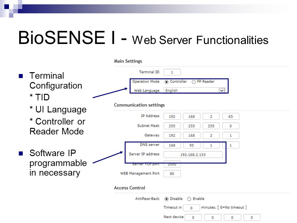 BioSENSE I - Web Server Functionalities Support Antipass-Back Setup Security Level Auto- Synchronization Fast-Registry Card