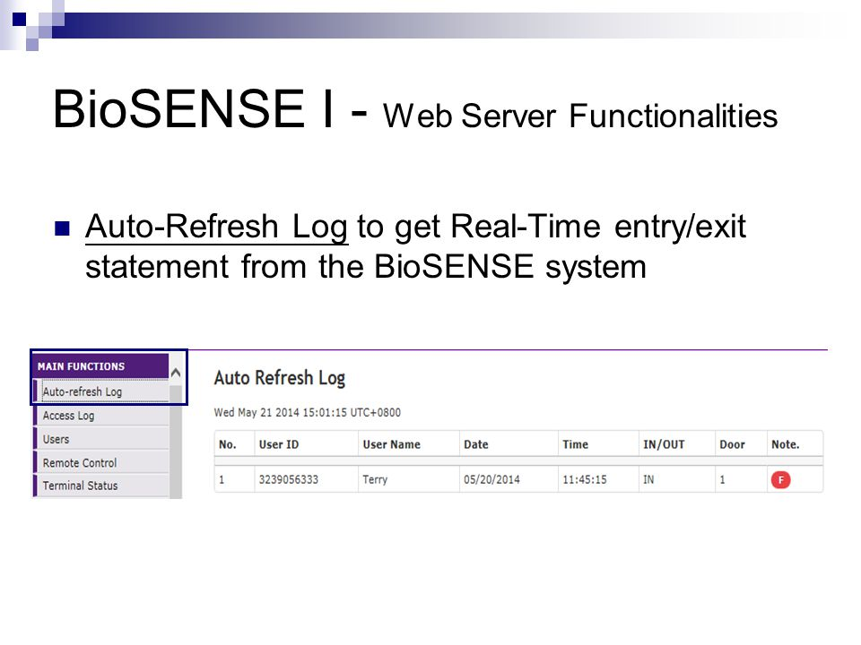 BioSENSE I - Web Server Functionalities Door Setup : Access Door by a Bypass Time Zone L1 : Fingerprint or Card L2 : Fingerprint only L3 : Card only L4 : Fingerprint and Card