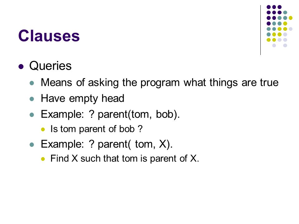 Clauses Queries Means of asking the program what things are true Have empty head Example: .