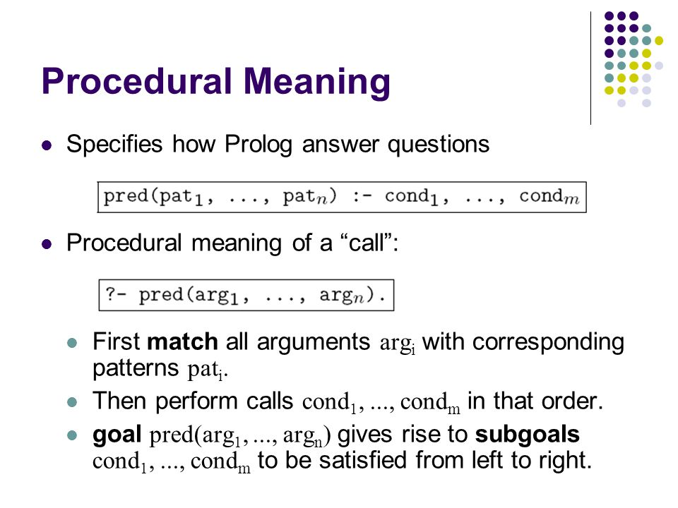 Procedural Meaning Specifies how Prolog answer questions Procedural meaning of a call : First match all arguments arg i with corresponding patterns pat i.