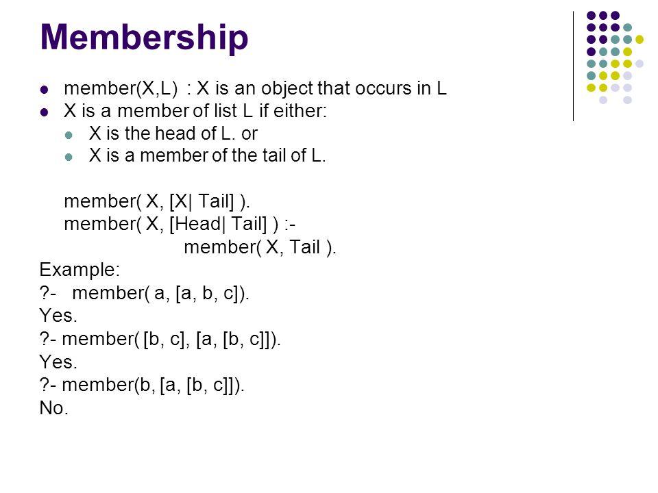 Membership member(X,L) : X is an object that occurs in L X is a member of list L if either: X is the head of L. or X is a member of the tail of L. mem