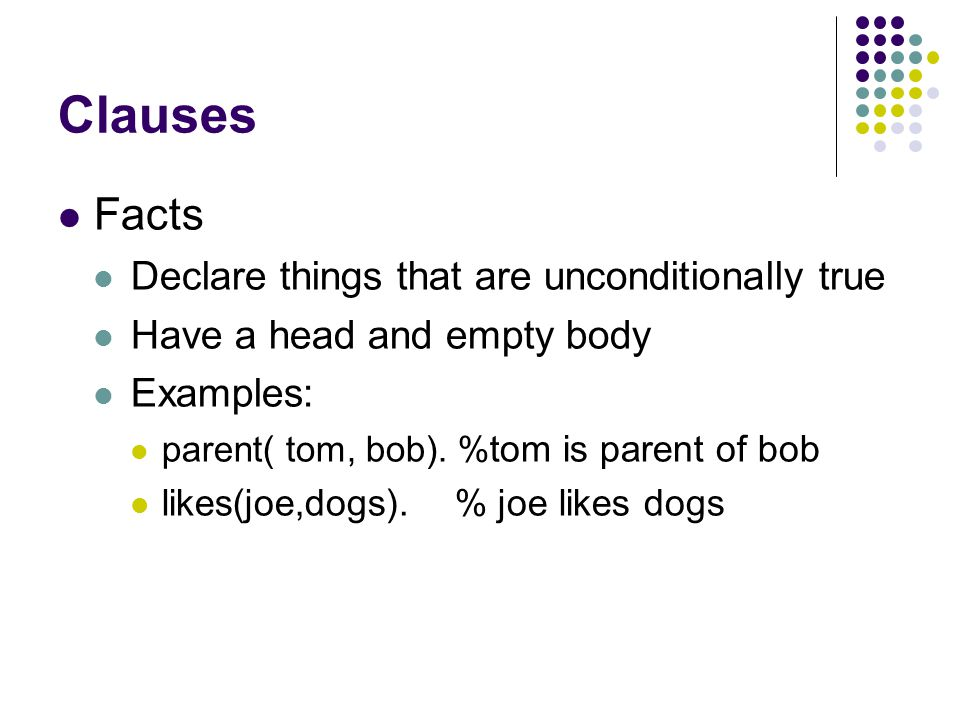 Clauses Facts Declare things that are unconditionally true Have a head and empty body Examples: parent( tom, bob).