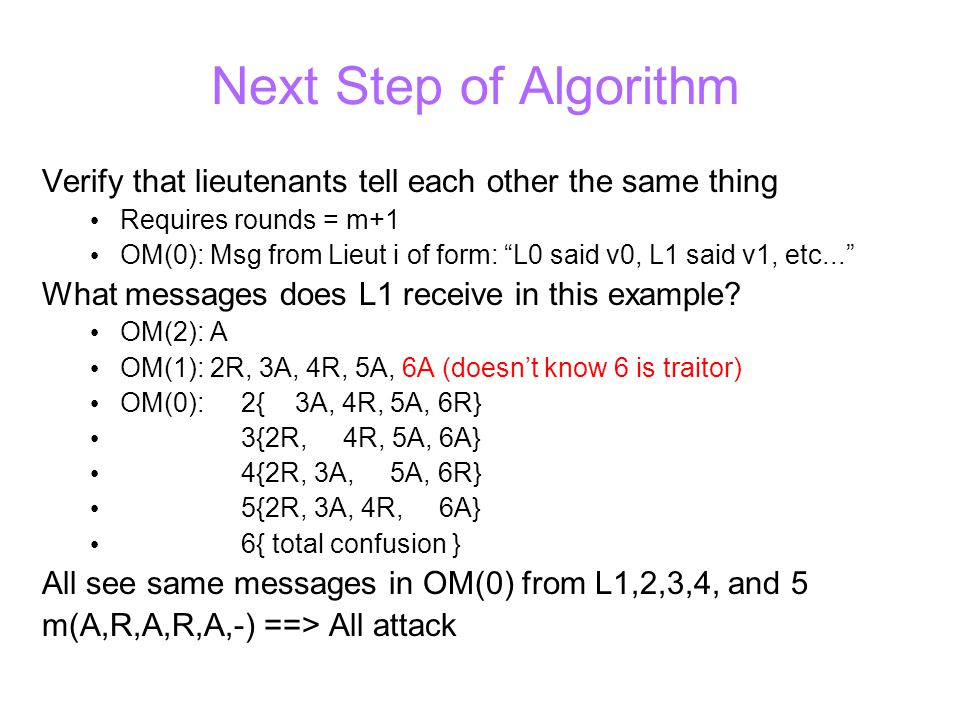 Next Step of Algorithm Verify that lieutenants tell each other the same thing Requires rounds = m+1 OM(0): Msg from Lieut i of form: L0 said v0, L1 said v1, etc... What messages does L1 receive in this example.