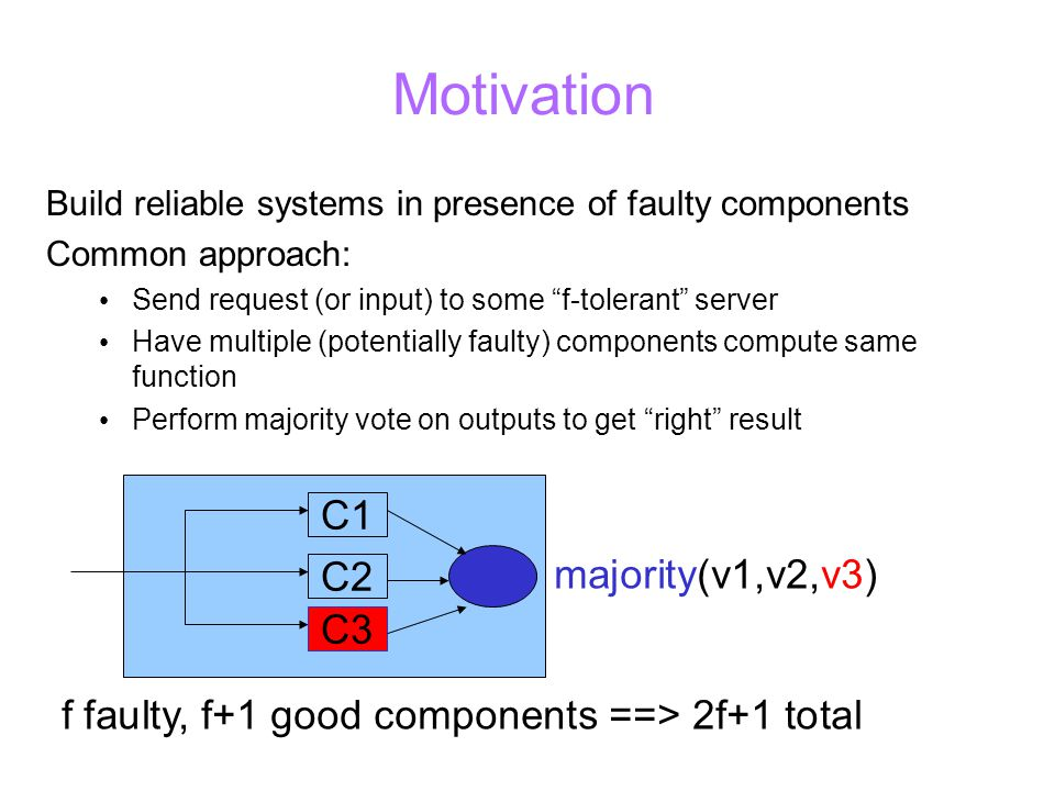 Motivation Build reliable systems in presence of faulty components Common approach: Send request (or input) to some f-tolerant server Have multiple (potentially faulty) components compute same function Perform majority vote on outputs to get right result C1 C2 C3 majority(v1,v2,v3) f faulty, f+1 good components ==> 2f+1 total