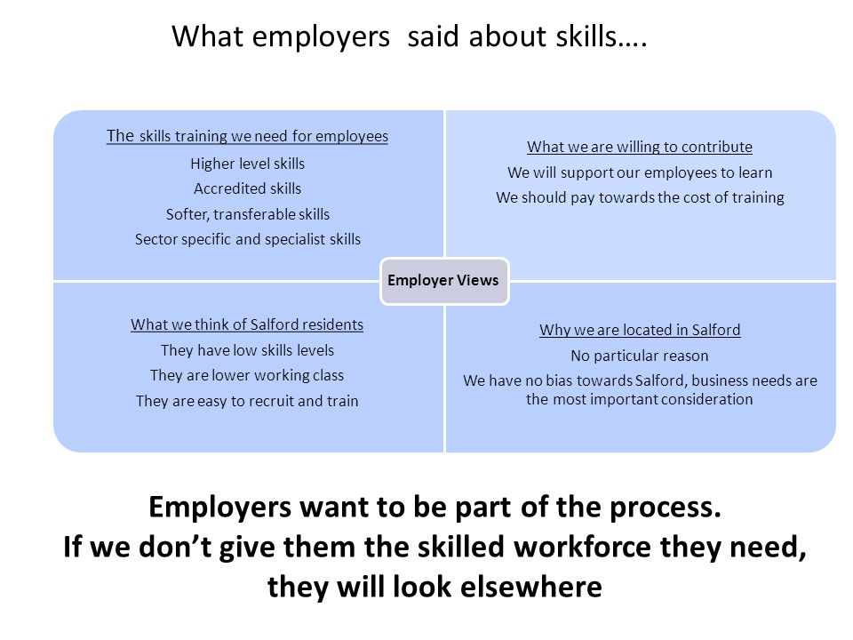 Employers want to be part of the process.