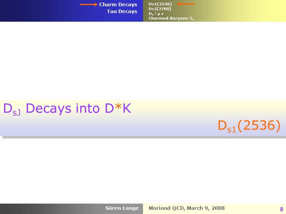 Moriond QCD, March 9, 2008 Charm Decays Tau Decays Sören Lange 8 D sJ Decays into D*K D s1 (2536) D sJ Decays into D*K D s1 (2536) Ds1(2536) DsJ(2700) D s .