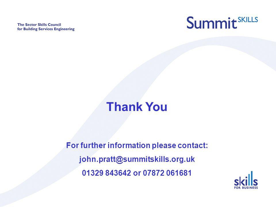 Thank You For further information please contact: john.pratt@summitskills.org.uk 01329 843642 or 07872 061681