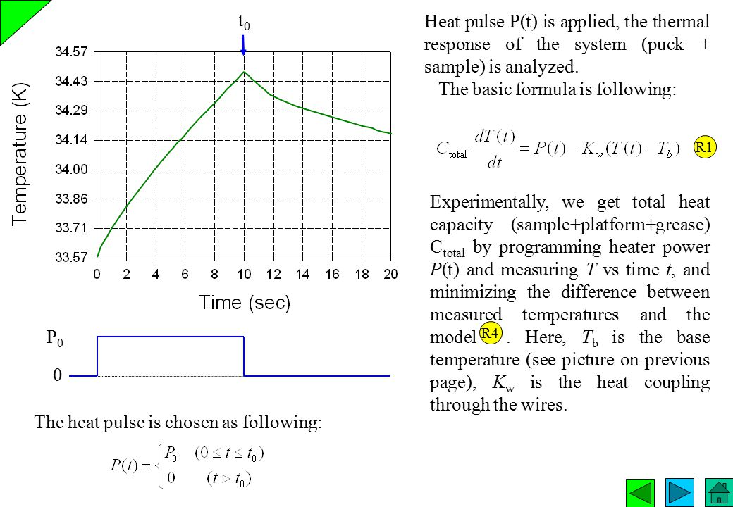 t0t0 Heat pulse P(t) is applied, the thermal response of the system (puck + sample) is analyzed. The basic formula is following: R1 Experimentally, we