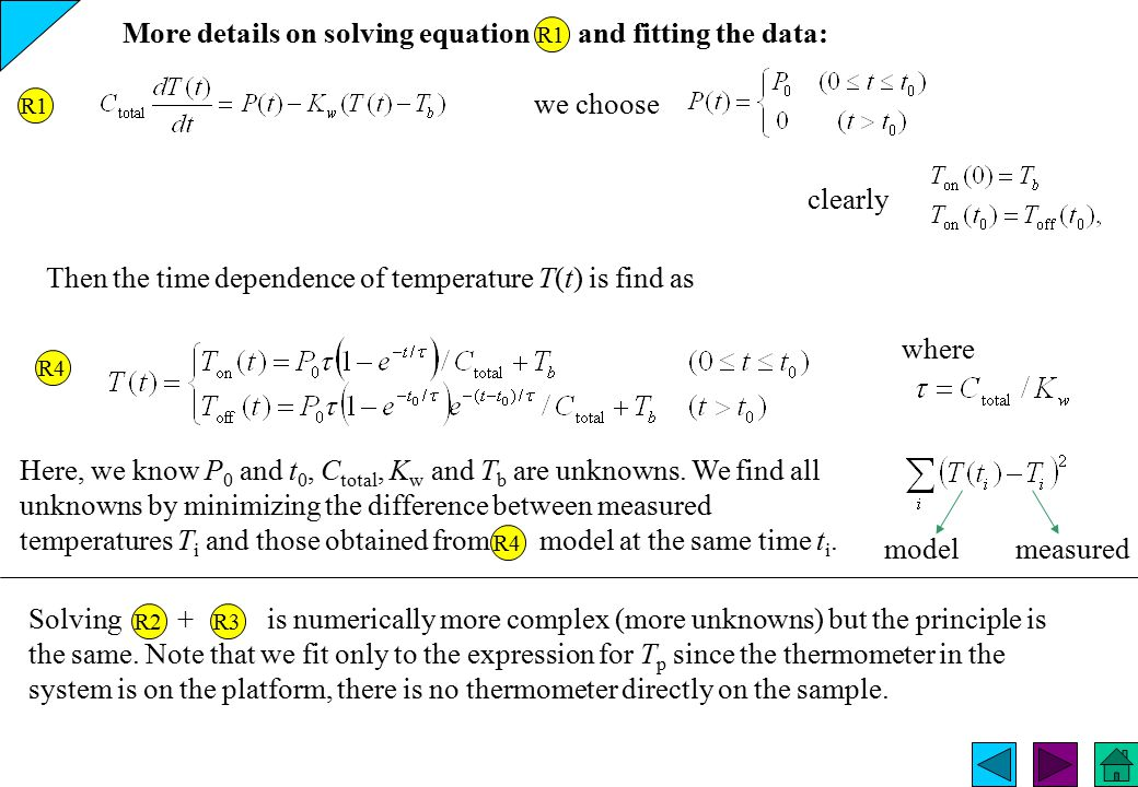 More details on solving equation and fitting the data: R1 we choose clearly Then the time dependence of temperature T(t) is find as where R4 Here, we