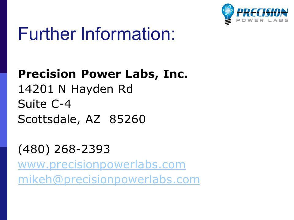 Further Information: Precision Power Labs, Inc.