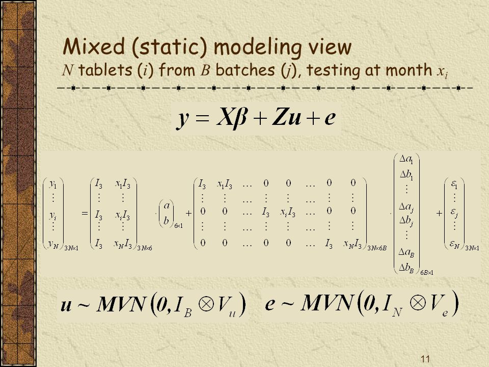 11 Mixed (static) modeling view N tablets ( i ) from B batches ( j ), testing at month x i