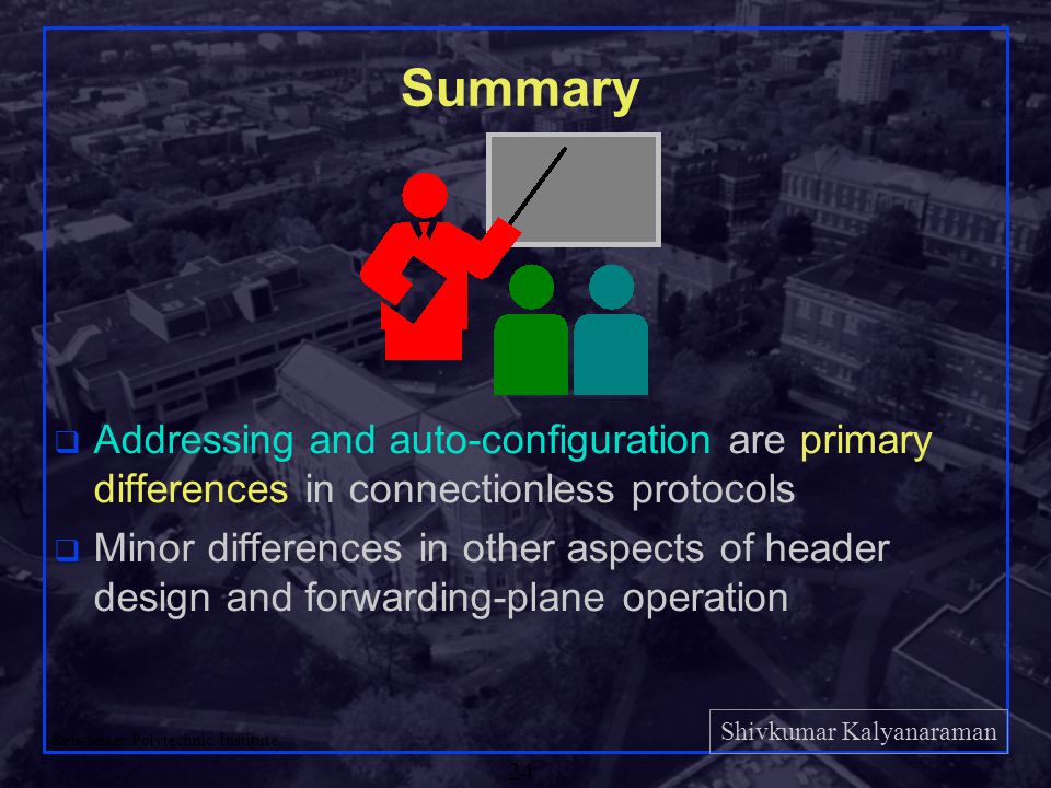 Shivkumar Kalyanaraman Rensselaer Polytechnic Institute 24 Summary q Addressing and auto-configuration are primary differences in connectionless protocols q Minor differences in other aspects of header design and forwarding-plane operation