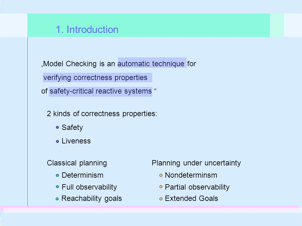 """ Model Checking is an automatic technique for verifying correctness properties of safety-critical reactive systems "" 1. Introduction Classical planni"