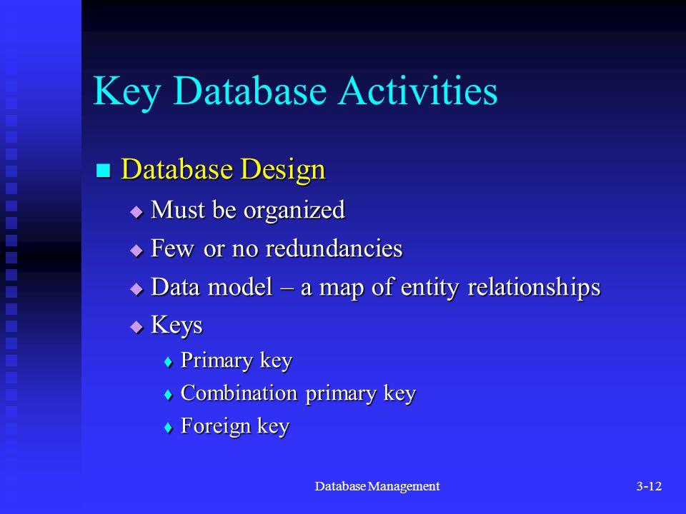 Database Management3-12 Key Database Activities Database Design Database Design  Must be organized  Few or no redundancies  Data model – a map of entity relationships  Keys  Primary key  Combination primary key  Foreign key
