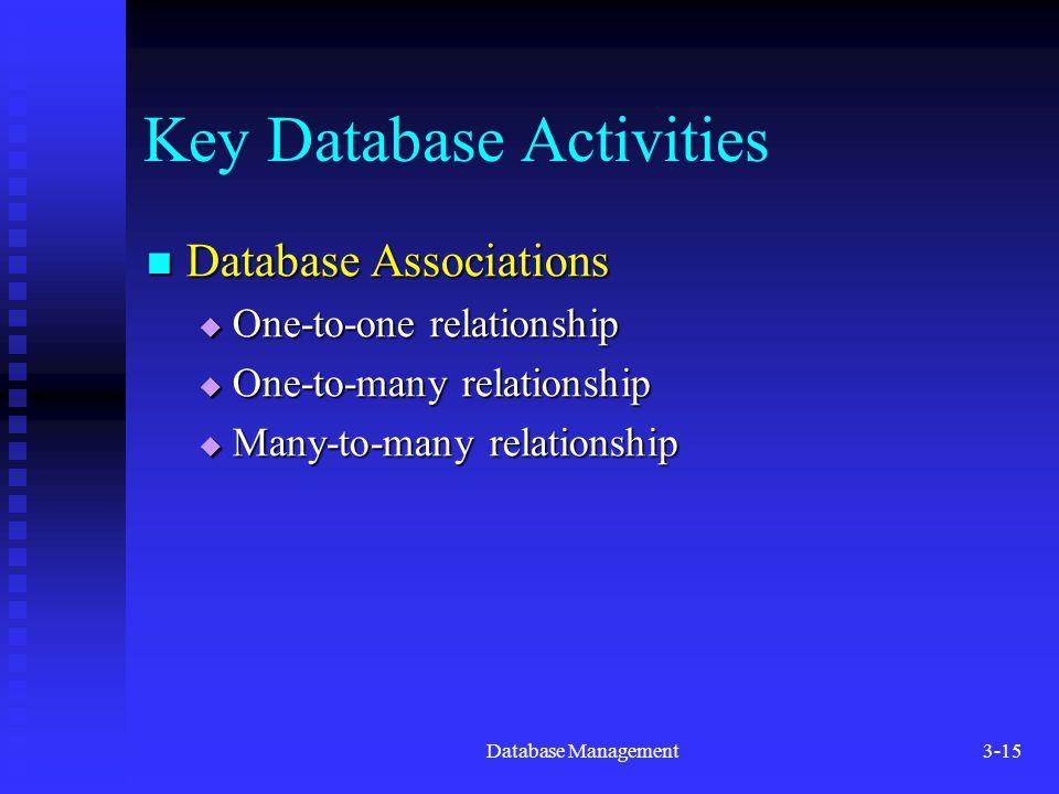 Database Management3-15 Key Database Activities Database Associations Database Associations  One-to-one relationship  One-to-many relationship  Many-to-many relationship