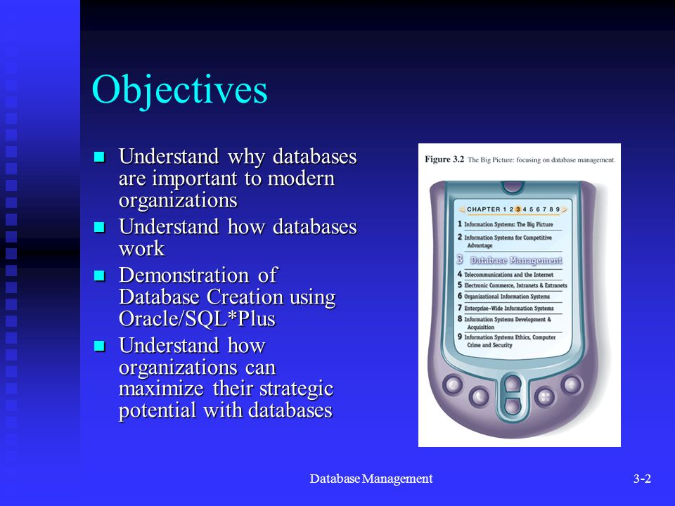 Database Management3-2 Objectives Understand why databases are important to modern organizations Understand why databases are important to modern orga