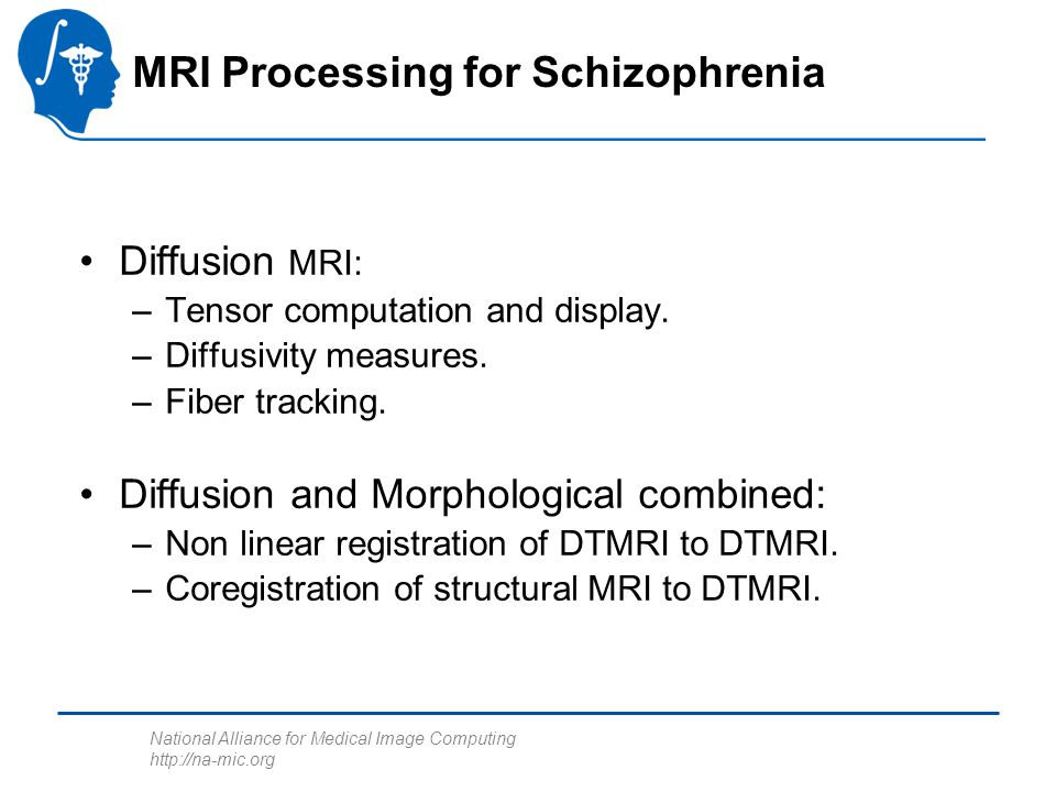 National Alliance for Medical Image Computing http://na-mic.org MRI Processing for Schizophrenia Diffusion MRI: –Tensor computation and display.