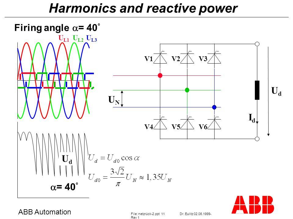 Harmonics and reactive power ABB Automation File: netzrück-2.ppt 11Dr.