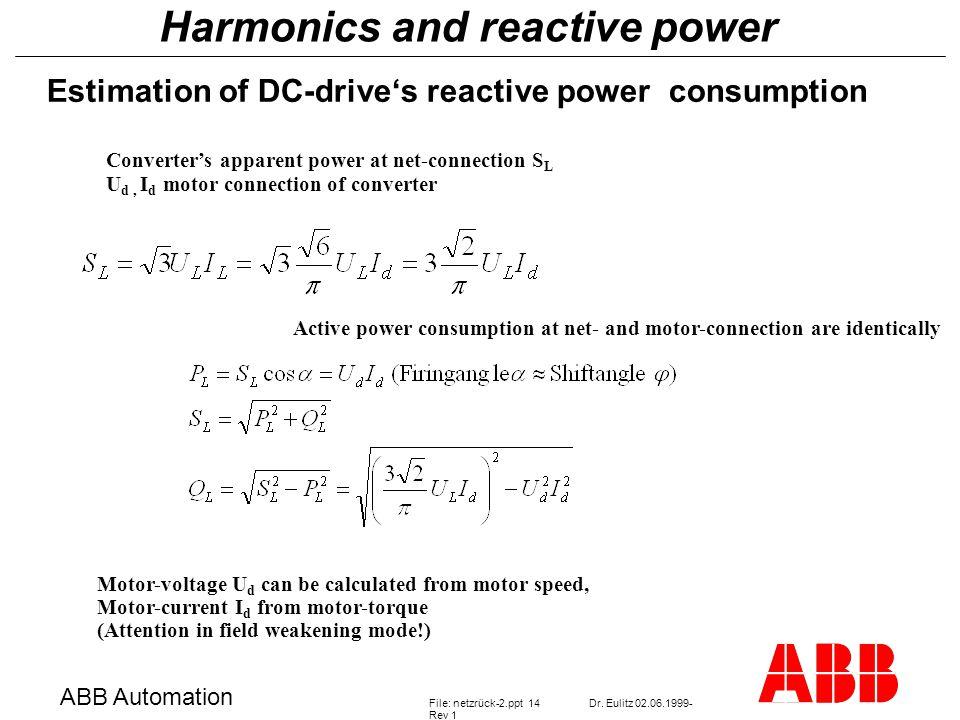 Harmonics and reactive power ABB Automation File: netzrück-2.ppt 14Dr.