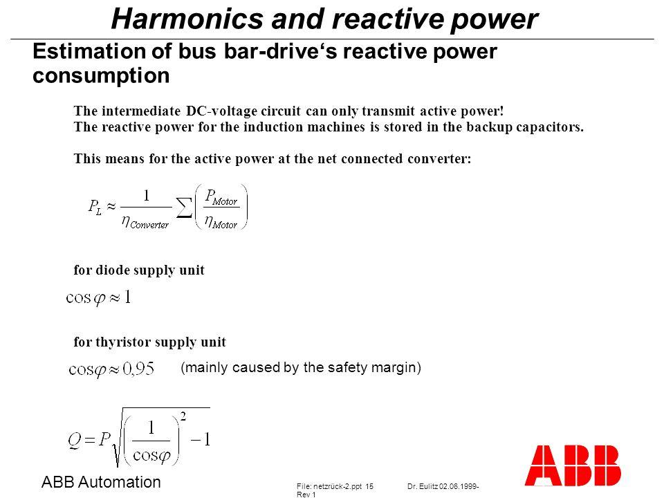 Harmonics and reactive power ABB Automation File: netzrück-2.ppt 15Dr.