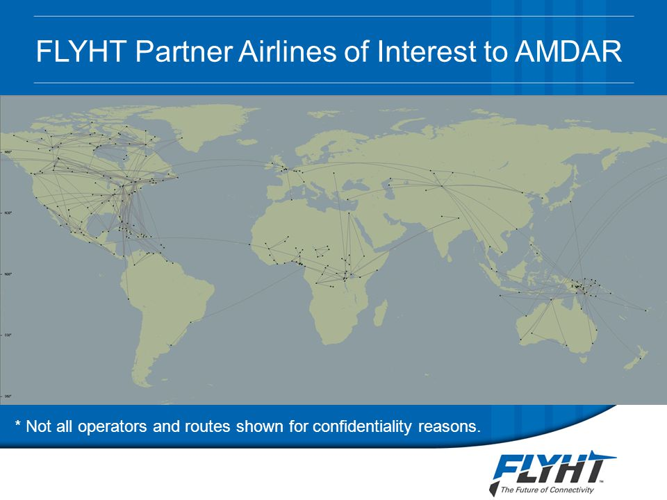 FLYHT Partner Airlines of Interest to AMDAR * Not all operators and routes shown for confidentiality reasons.