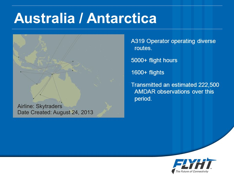 Australia / Antarctica A319 Operator operating diverse routes.