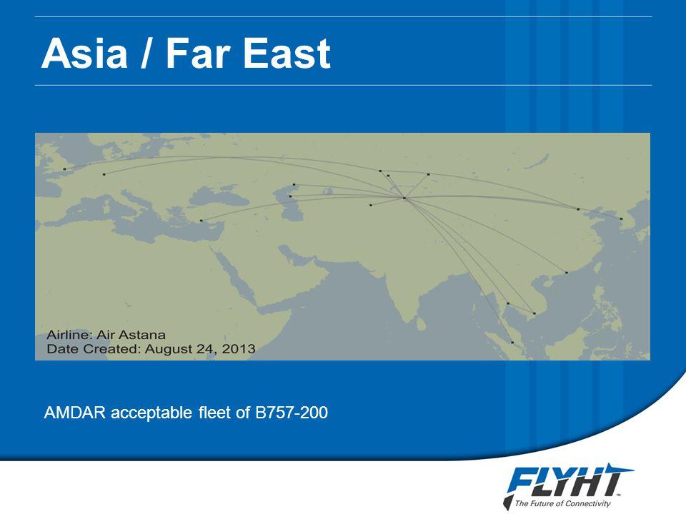 Asia / Far East AMDAR acceptable fleet of B757-200