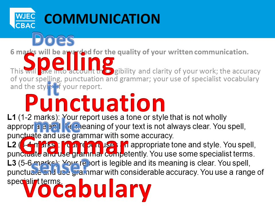 COMMUNICATION 6 marks will be awarded for the quality of your written communication.