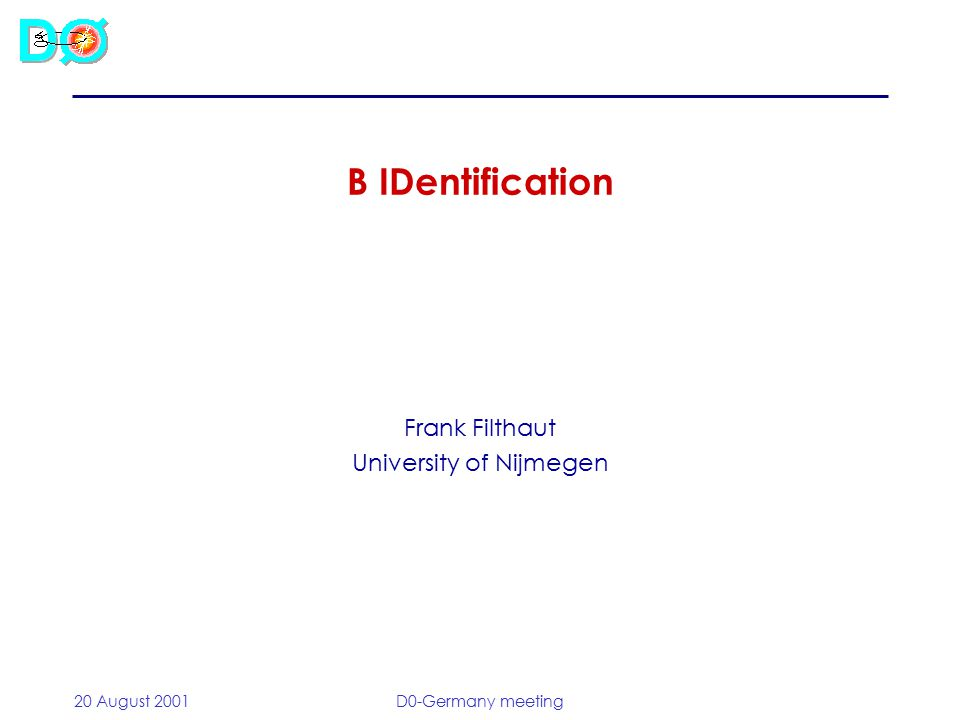 20 August 2001D0-Germany meeting B IDentification Frank Filthaut University of Nijmegen