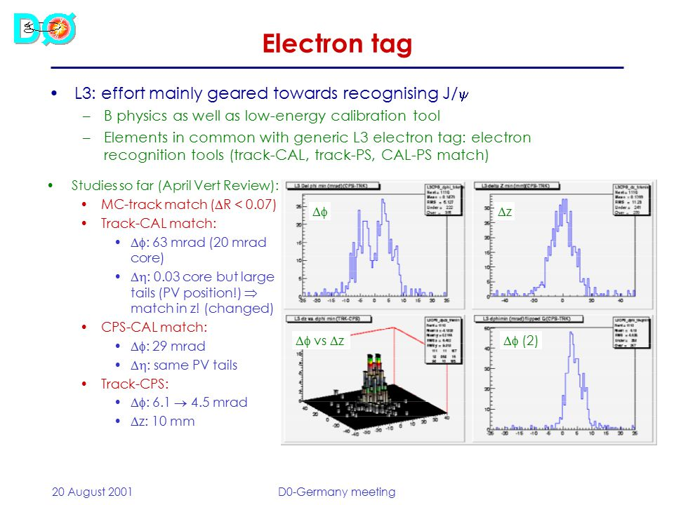 20 August 2001D0-Germany meeting Electron tag L3: effort mainly geared towards recognising J/  –B physics as well as low-energy calibration tool –Elements in common with generic L3 electron tag: electron recognition tools (track-CAL, track-PS, CAL-PS match) Studies so far (April Vert Review): MC-track match (  R < 0.07) Track-CAL match:  : 63 mrad (20 mrad core)  : 0.03 core but large tails (PV position!)  match in z.