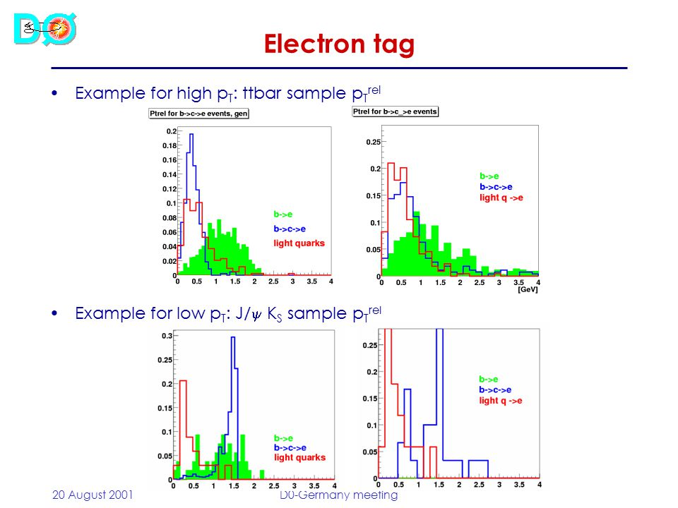 20 August 2001D0-Germany meeting Performance for high-p T Z  bb sample: –Efficiency includes b  e branching ratio –Background taken from same sample Efficiency as fct of p T Electron tag No PS matchPS match req Efficiency (%)5.2 ± 0.84.8 ± 0.8 Fake rate (%)1.1 ± 0.10.47 ± 0.07