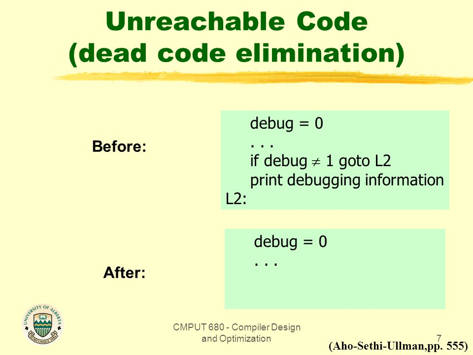 CMPUT 680 - Compiler Design and Optimization7 Unreachable Code (dead code elimination) Before: (Aho-Sethi-Ullman,pp.