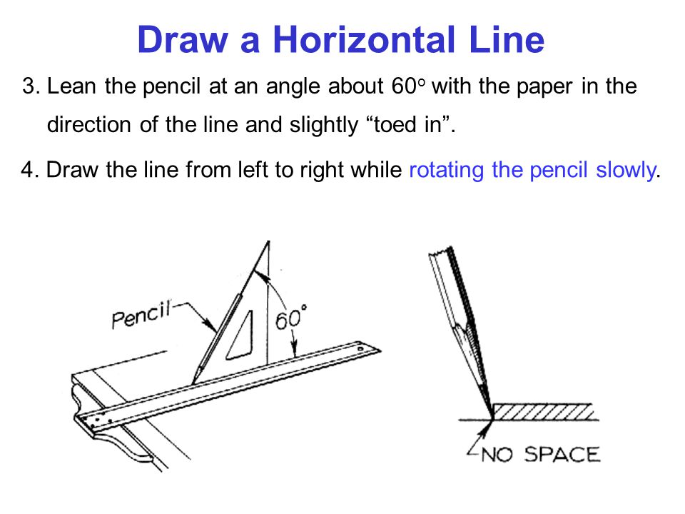 """Draw a Horizontal Line 3. Lean the pencil at an angle about 60 o with the paper in the direction of the line and slightly """"toed in"""". 4. Draw the line"""