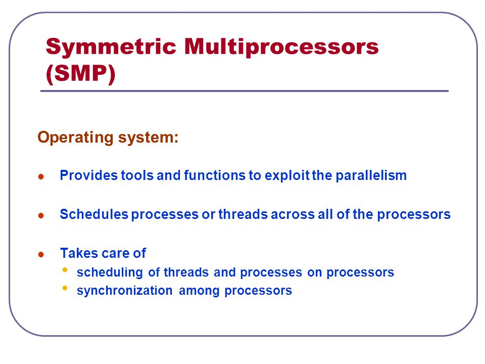 Symmetric Multiprocessors (SMP) Operating system: Provides tools and functions to exploit the parallelism Schedules processes or threads across all of the processors Takes care of scheduling of threads and processes on processors synchronization among processors