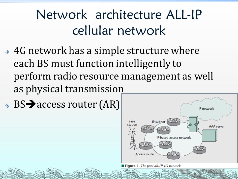 Network architecture ALL-IP cellular network  4G network has a simple structure where each BS must function intelligently to perform radio resource m