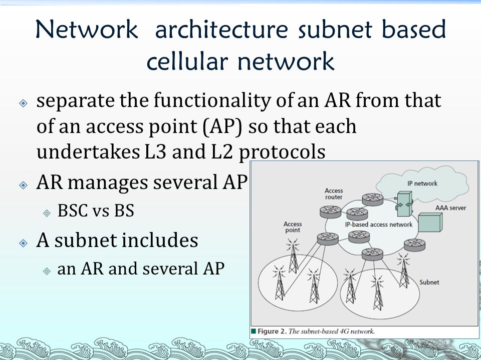 Network architecture subnet based cellular network  separate the functionality of an AR from that of an access point (AP) so that each undertakes L3 and L2 protocols  AR manages several AP  BSC vs BS  A subnet includes  an AR and several AP 12