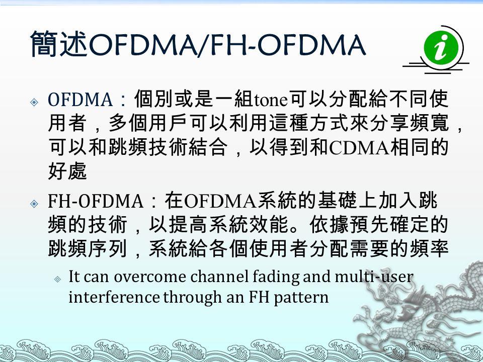 簡述 OFDMA/FH-OFDMA  OFDMA :個別或是一組 tone 可以分配給不同使 用者,多個用戶可以利用這種方式來分享頻寬, 可以和跳頻技術結合,以得到和 CDMA 相同的 好處  FH-OFDMA :在 OFDMA 系統的基礎上加入跳 頻的技術,以提高系統效能。依據預先確定的 跳頻序列,系統給各個使用者分配需要的頻率  It can overcome channel fading and multi-user interference through an FH pattern 5