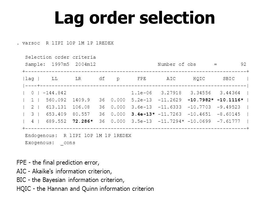 . varsoc R lIPI lOP lM lP lREDEX Selection order criteria Sample: 1997m5 2004m12 Number of obs = 92 +-------------------------------------------------
