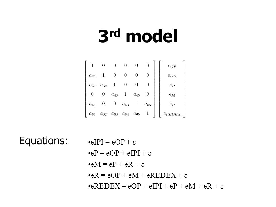 3 rd model Equations: eIPI = eOP +  eP = eOP + eIPI +  eM = eP + eR +  eR = eOP + eM + eREDEX +  eREDEX = eOP + eIPI + eP + eM + eR + 