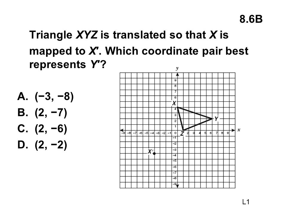 8.6B Triangle XYZ is translated so that X is mapped to X′. Which coordinate pair best represents Y′? A. (−3, −8) B. (2, −7) C. (2, −6) D. (2, −2) L1